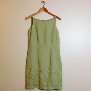 Sage Boatneck Dress Embroidered Sheath 6